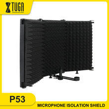 XTUGA 3 Pannels Microphone Isolation Shield Foldable&Portable High Density Sound-Absorbing Foam Panel for Studio Recording