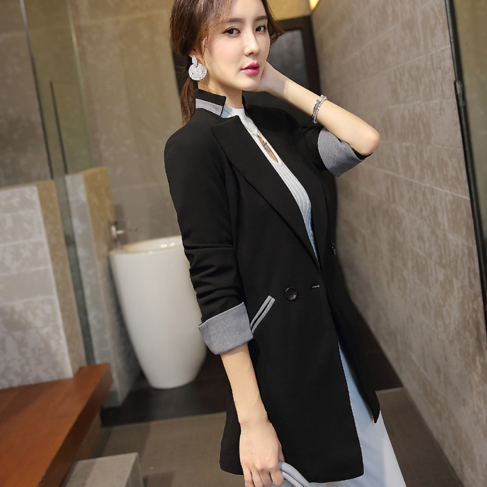 Patchwork Cuff Mandarin Collar Long Blazer 2019 Ladies Spring Autumn Casual Women Long Jacket