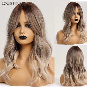LOUIS FERRE Medium Synthetic Wigs for Women Ombre Wavy Wigs with Bangs Middle Part Brown Ash Natural Hair Wigs Daily Cosplay Wig