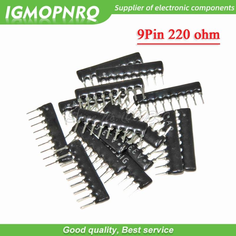 20pcs A221G  DIP Exclusion 9pin 220 Ohm 220R A221 A221J Network Resistor Array IGMOPNRQ
