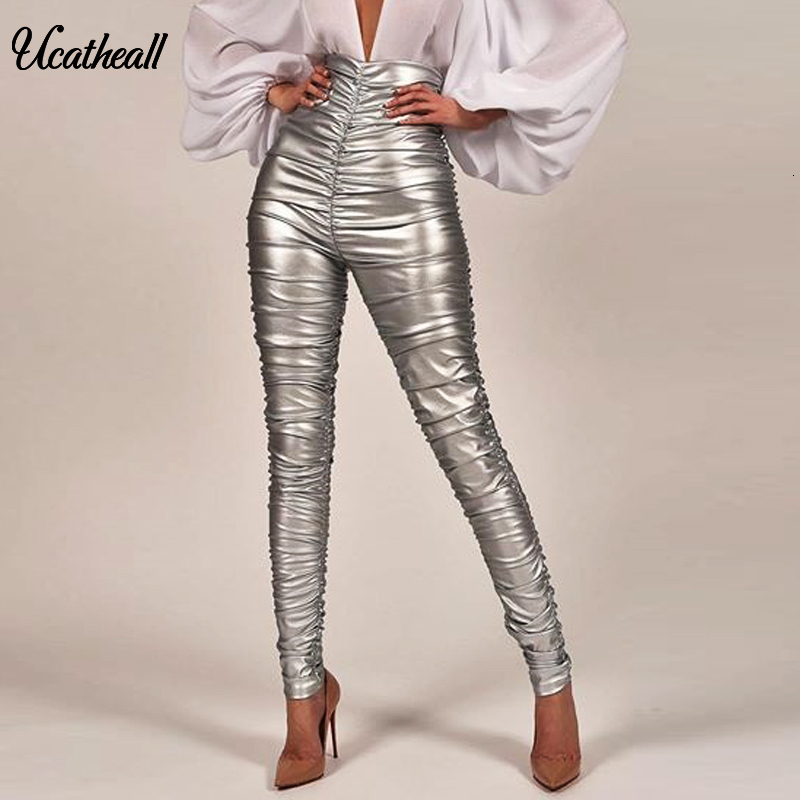 Hiigh Waist Women PU Leather Pants Button Zippers Faux PU Leather Capris High Elasticity Trousers Ruched Fold Long Pants