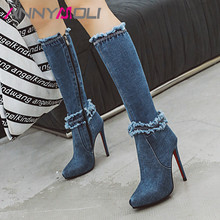 ANNYMOLI Winter Knee High Boots Women Denim Thin Heel Long Sexy Zipper Super Shoes Lady Autumn Big Size 43