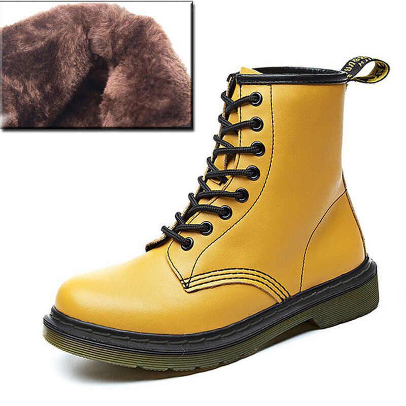 2020 Doc moto bottes femmes bottes en cuir véritable pour Martin bottes femmes bottines dames hiver chaussures Bota femmes chaussons
