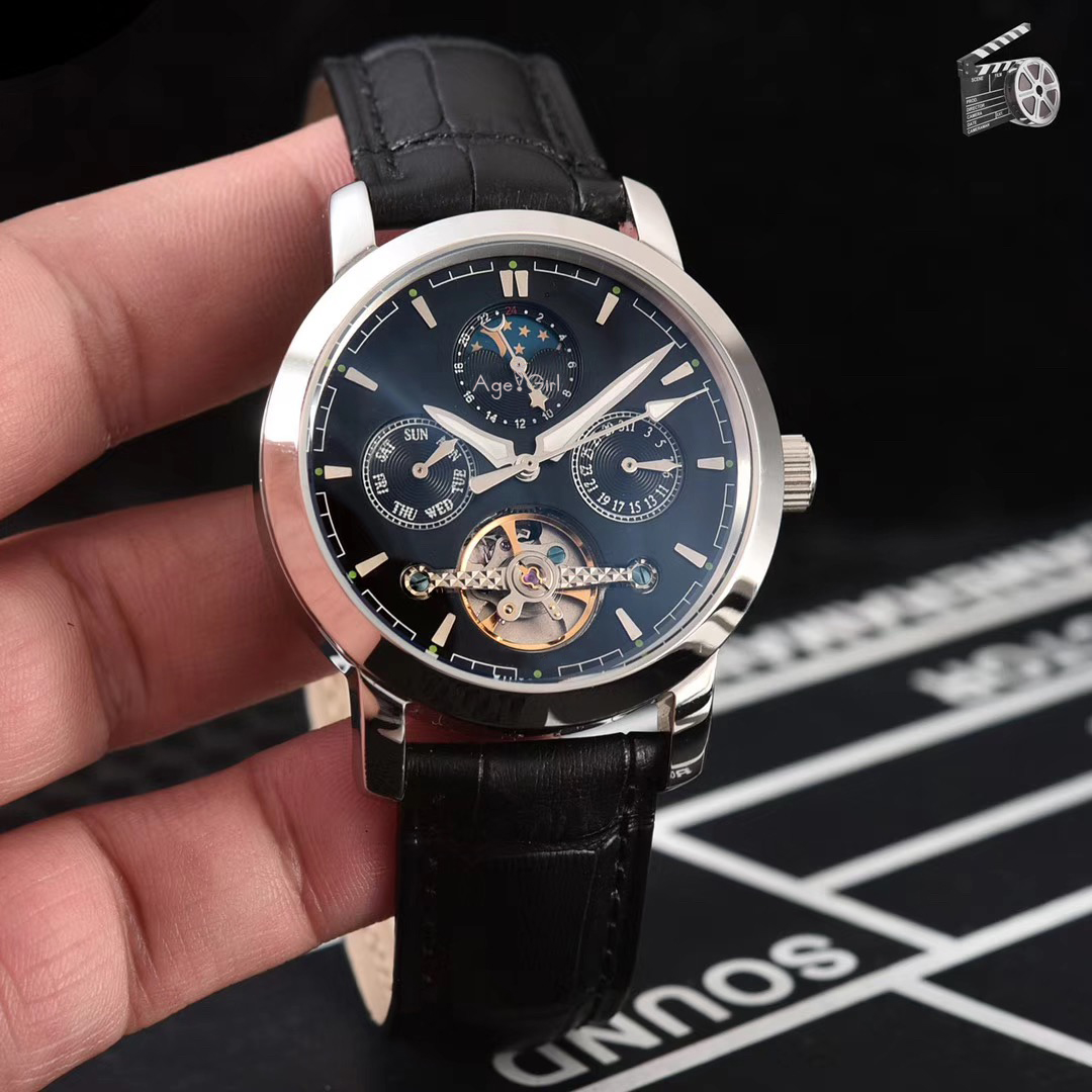 Luxury Brand New Men Rose Gold Silver Brown Leather Automatic Mechanical Sapphire Moon Phase Tourbillion Watches Glass Back AAA+
