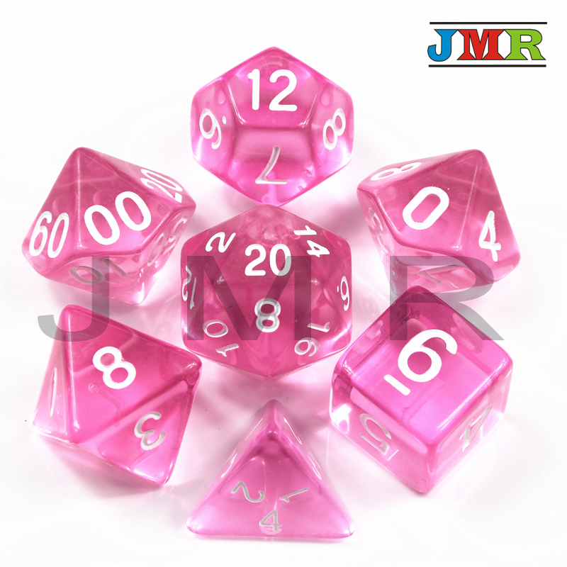 Transparent 7pcDie Set With Candy Effect Poker Game Dice D&d D4,d6,d8,d10,d12,d20 Pink Color Portable Dice, Rpg Dnd Board Game