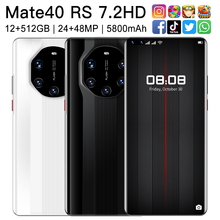 2021 New Mate40 RS 7.2Inch Smartphone 5800mAh 12+512G 24+48MP HD Full Screen Support Face Unlock Dual SIM 5G Android Mobilephone