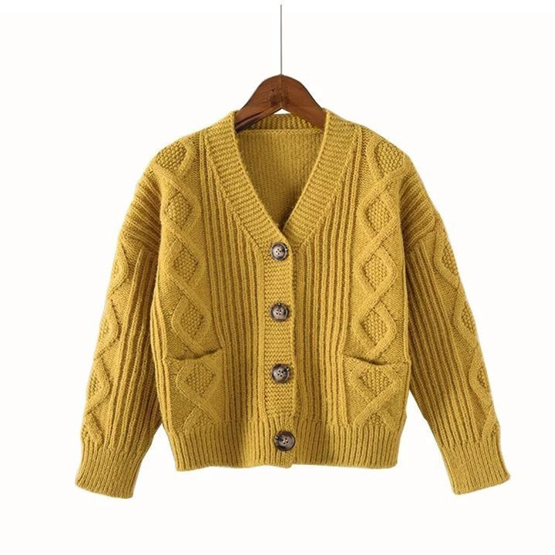 Image 5 - Kids Sweaters Autumn Solid Girls Cardigan Knit Wool Children Girls Clothes Tops Color Yellow Children Girl Warm Winter SweaterSweaters   -