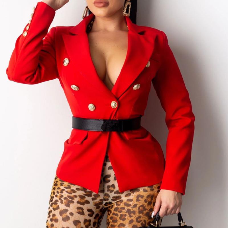 Women Double Breasted Long Sleeve Blazer Elegant Turn Down Collar Solid Office Lady Blazer Suit Spring Sport Coat