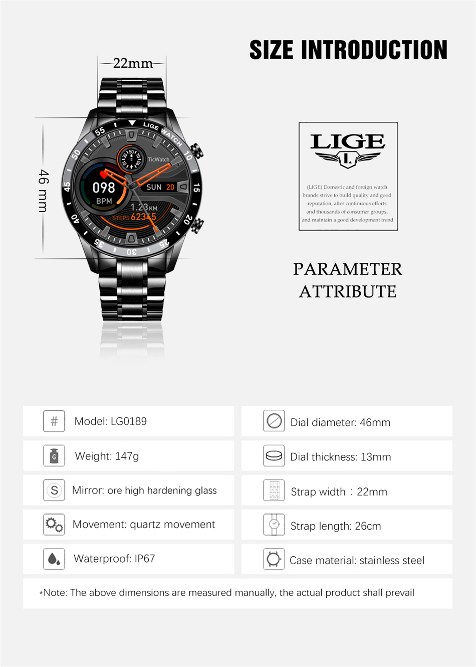 H84223a83211f4790bf5ce3f9d9aa28a18 LIGE New Men Smart watch Heart rate Blood pressure IP68 waterproof sports Fitness watch Luxury Smart watch male for iOS Android