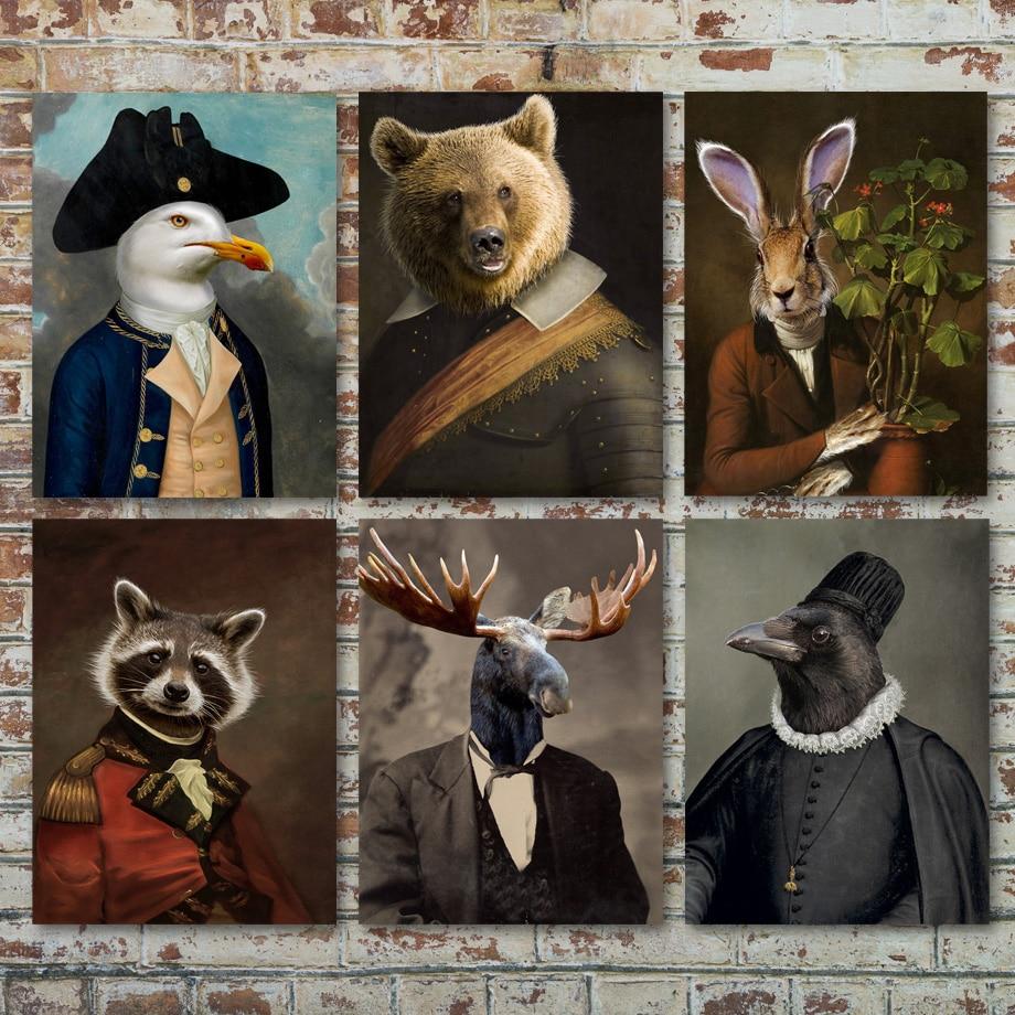 Moose медведь кролика, енота Тигр стена чайки Искусство Холст Картина скандинавские плакаты и принты настенные картинки для декора гостиной