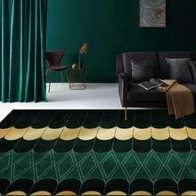 Современный роскошный зеленый золотистый геометрический ковер