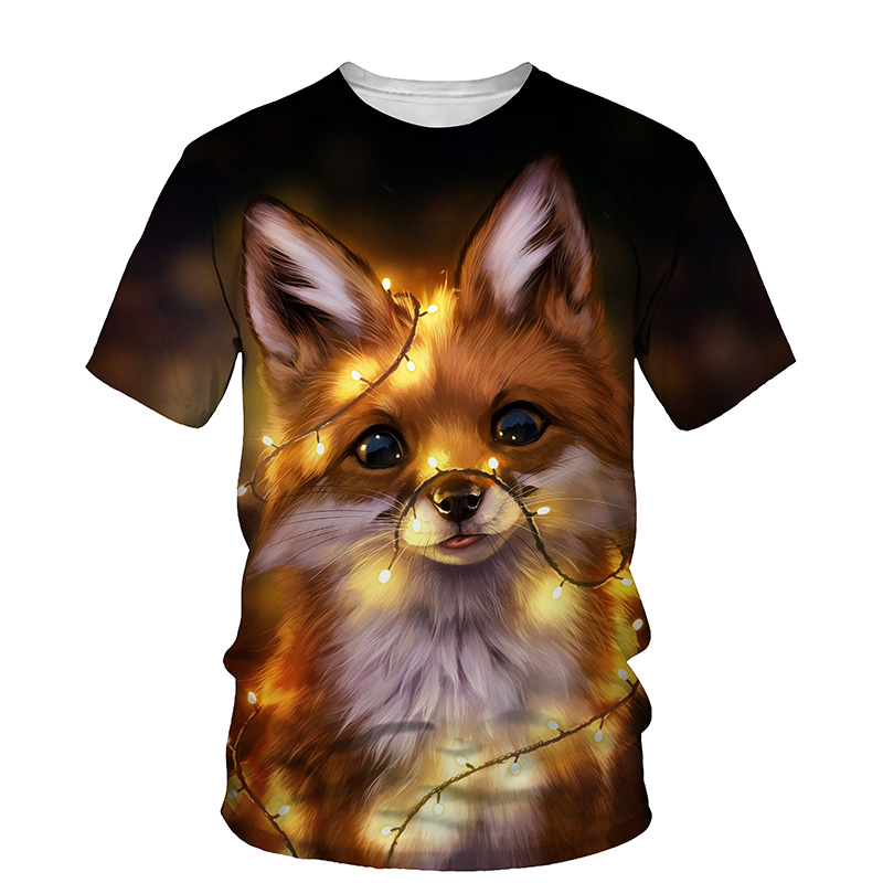 Cute Fox 3D Print T-shirt Women 2021 Summer New O Neck Short Sleeve Tees Tops Funny Outfit Style Female Clothes Casual T-shirts