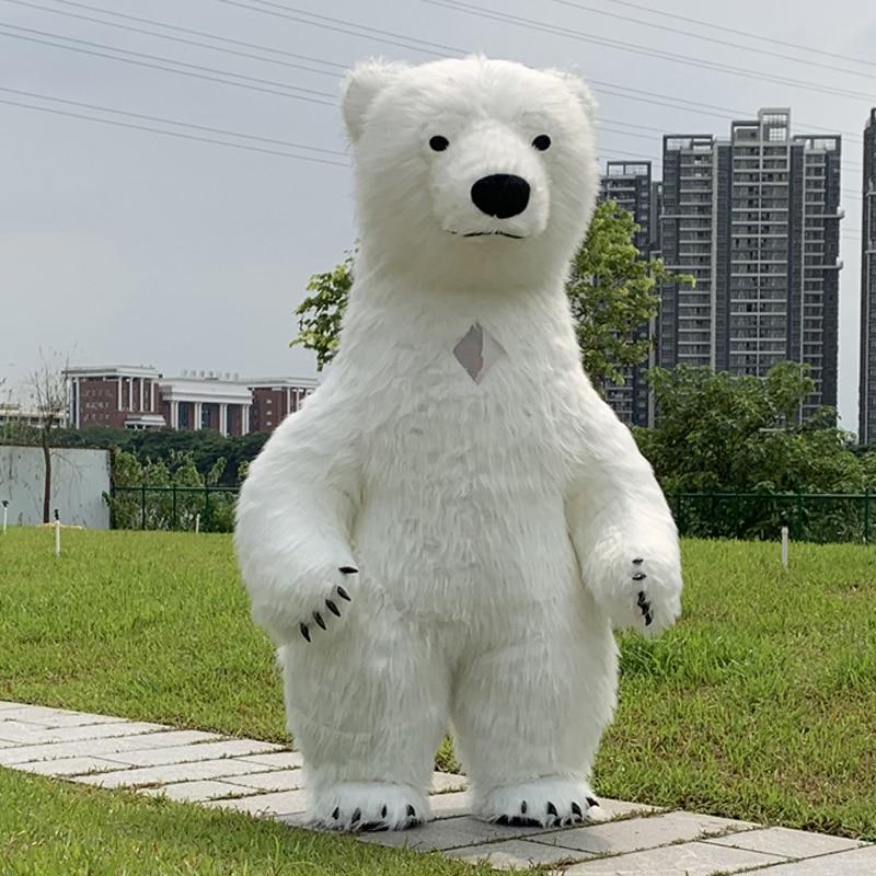 Fantasia de urso polar inflável mascotte Derramar Adultes Gonflable Polaire traje Público Despeje Fantaisies Homem Personnaliser