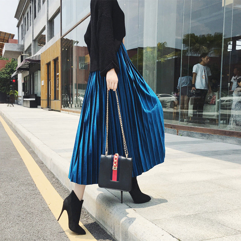 Metallic Skirt Vintage Winter Womens Autumn High-Waist New-Fashion Female Pleated