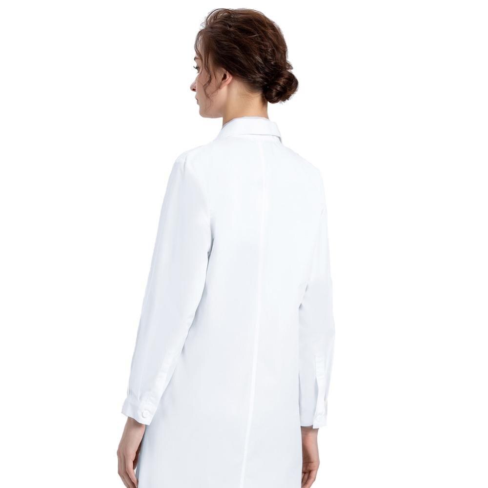 Image 3 - Белое лабораторное пальто для женщин, медсестры и пальто доктора, Профессиональная Медицинская спецодежда униформа, Slim Fit, белое пальто с 3 карманами-in Лабораторные халаты from Новый и особенный в использовании on AliExpress