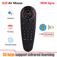 G30 2.4G Gyroscope Wireless Air Mouse 33 Keys IR Learning Smart Voice Remote Control for X96 mini H96 MAX Android Box vs G10 G20