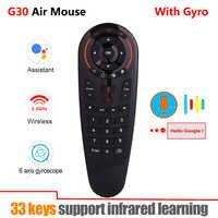 G30 2.4G Gyroscope sans fil Air souris 33 touches IR apprentissage intelligent voix télécommande pour X96 mini H96 MAX Android Box vs G10 G20