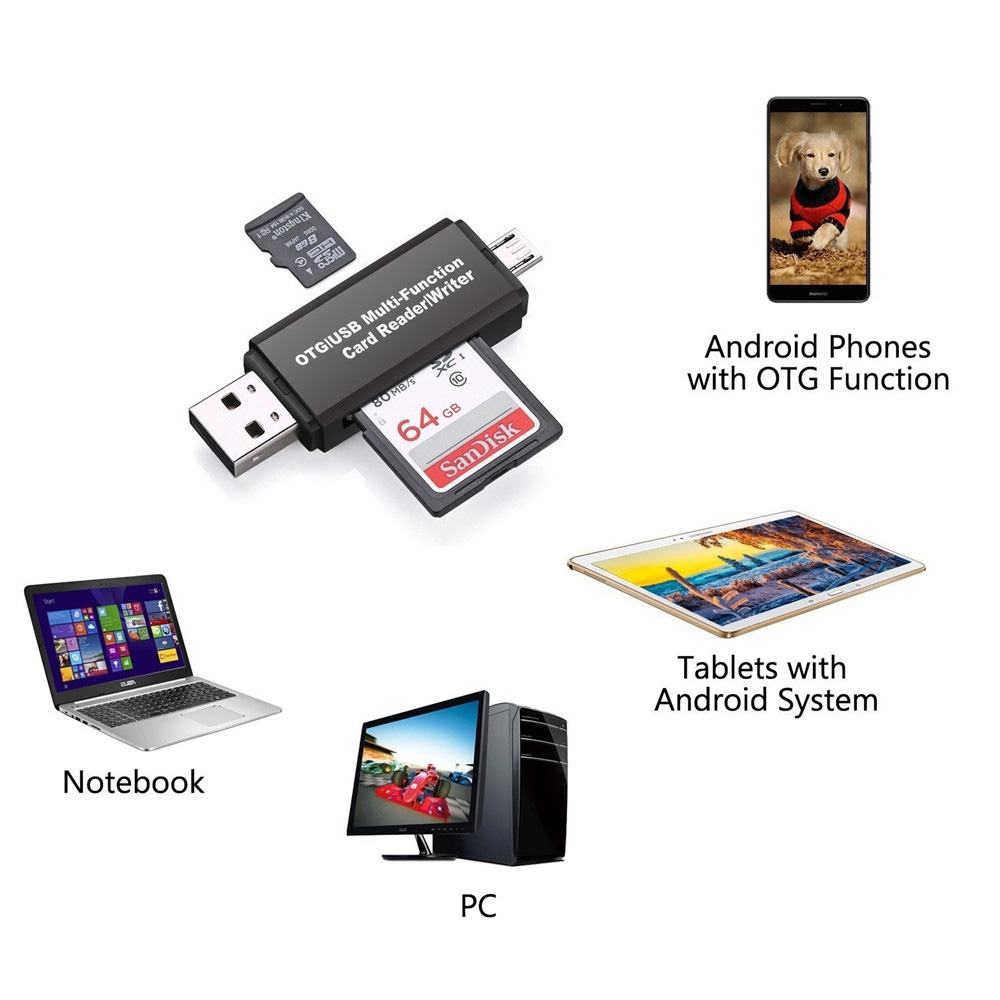 2019 New Memery Cards Reading Device Micro USB OTG To USB 2.0 Adapter SD Card Reader For Android Phone Tablet PC