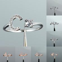 Minimalist Female A-Z Letter Adjustable Ring Charm Rose Gold Silver Engagement Rings For Women Dainty White Crystal Wedding Ring vintage adjustable a z letter metal ring female jewelry gothic charm gold ring fashion opening wedding band rings for women girl