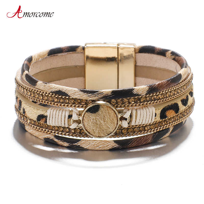 Amorcome Bohemian Luipaard Lederen Armbanden Voor Vrouwen 2020 Fashion Armbanden & Bangles Crystal Wide Wrap Armband Sieraden