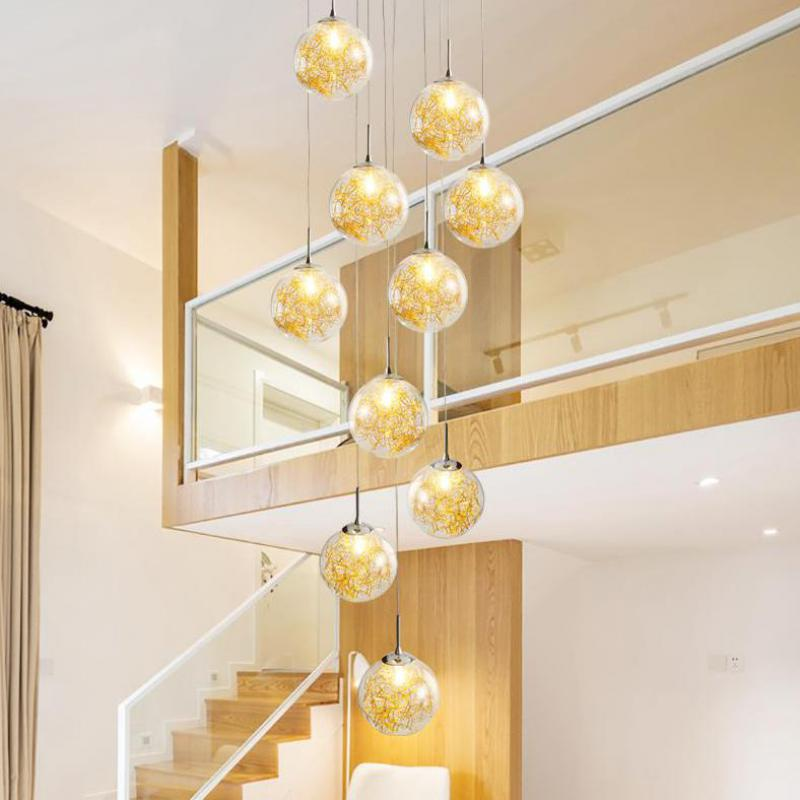 Long stairwell Gold glass ball Chandelier led Suspension Aluminum wire Hanging lamp Modern Living Room Nordic glass Chandeliers