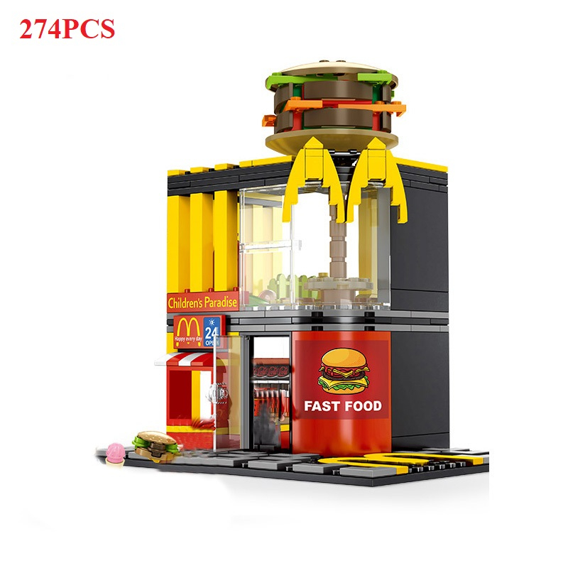 Image 2 - 280+ PCS Mini City Street View Building Blocks Coffee Shop Hamburger Store City Diy Bricks Toys For Children Christmas GiftsBlocks   -