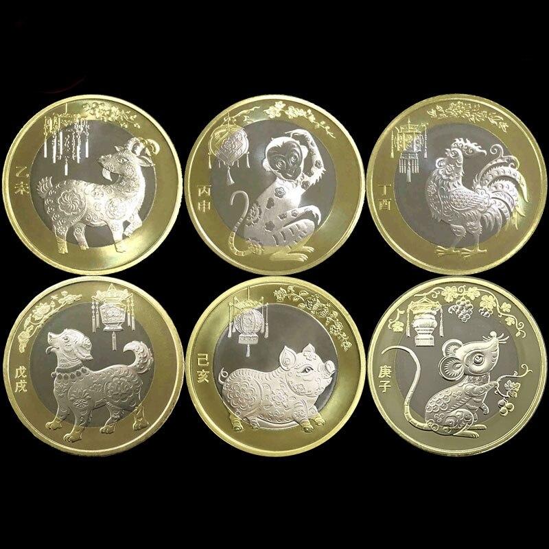 Новый Китай зодиака 10 юаней по индивидуальному заказу памятная монета овец обезьяна, курица собака свинка крыса 100% оригинальные монеты ...