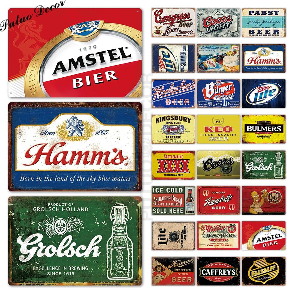 Bière signe métal signe Plaque métal Vintage Pub étain signe décor mural pour Bar Pub Club homme Cave étain plaques métal bière affiche