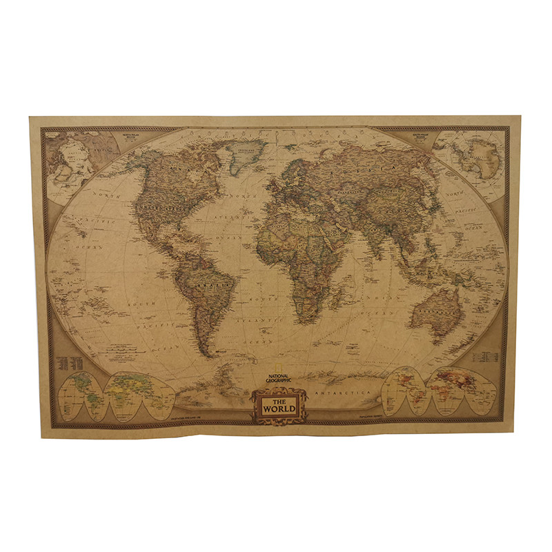 1 Pcs 72.5*47cm Student School Stationery Education Style Event Decoration Poster Not Acratch Off World Map Poster Wall Maps