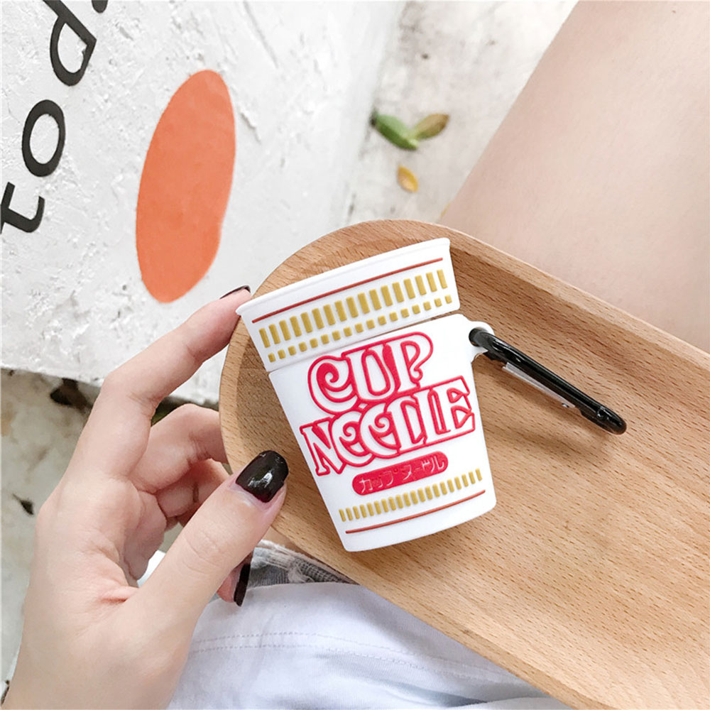 3D Cup Noodles Instant Noodles Headphone Case For Apple Airpods 1/2 Stereoscopic Silicone Protection Earphone Cover Accessories