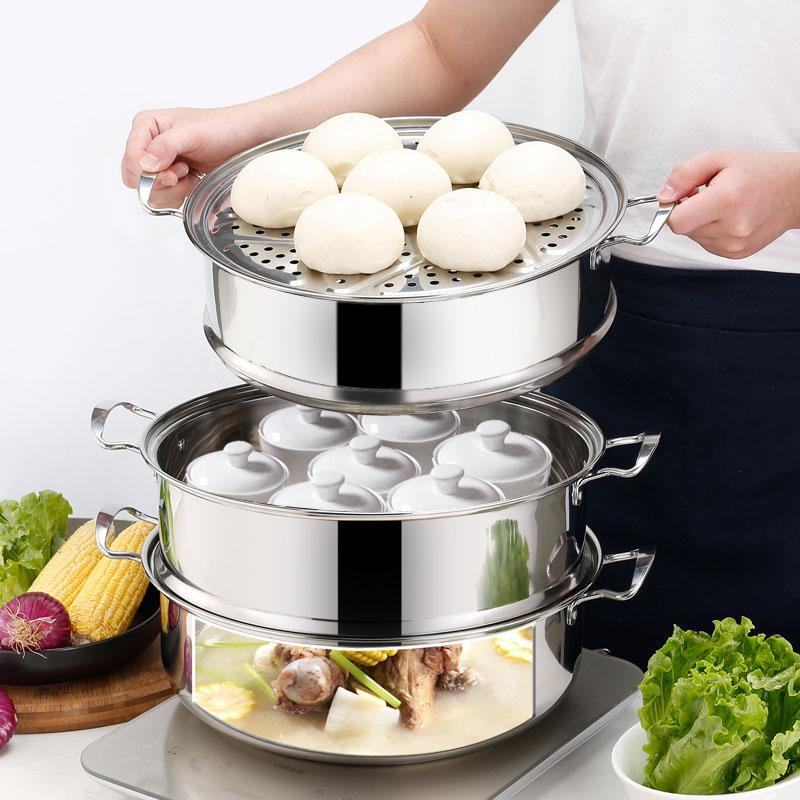 Image 2 - 23inch Cooking Steamer Pot Multi function Extra large Commercial 60CM 3 6 layer Food Steamer Pot Hot Pot SoupDouble Boilers   -