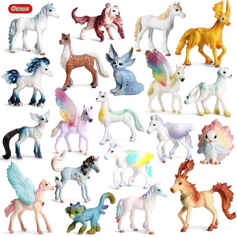 Oenux Original Genuine Fairy Tale Fly Horse Simulation Animal Mythical Elves Elf Pegasus Action Figures Model PVC Cute Kids Toy