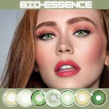 2 pcs/par verde lentes de contato lentillas verdes naturales cosméticos para olhos belleza lentes para olhos coloridos anualmente bio-essência