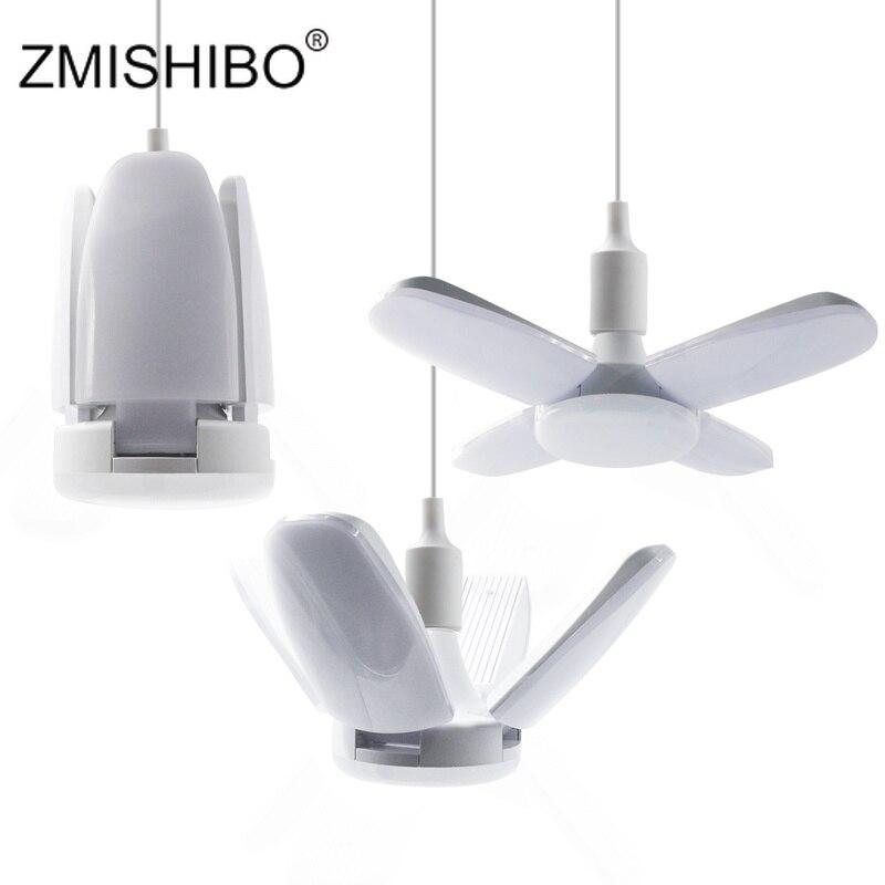 ZMISHIBO 60W E27 B22 LED Bulb Foldable Fan Blade Angle Adjustable 110V-220V Super Bright Lamp Home Energy Saving Lights CE RoHS