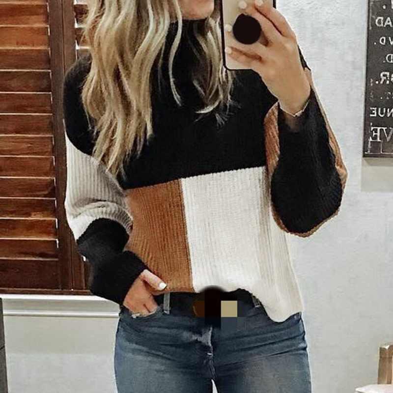 JODIMITTY 새로운 가을 겨울 패션 여성 니트 격자 무늬 패치 워크 스웨터 터틀넥 긴 소매 스웨터 여성 캐주얼