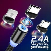 USB di Tipo C Cavo Magnetico Micro USB Magnetico Cavo di Ricarica 1m 2m 2.4A Magnete Spina Rapida Caricatore Mobile telefono 3 in 1 Cavo di Carica