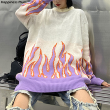 Sweater Women Flame-Pattern Long-Sleeve Loose And Winter Fashion Autumn