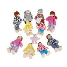 Brinquedos de madeira pequenos conjunto feliz casa de bonecas da família figuras vestidos personagens crianças crianças jogando boneca presente crianças fingir brinquedo