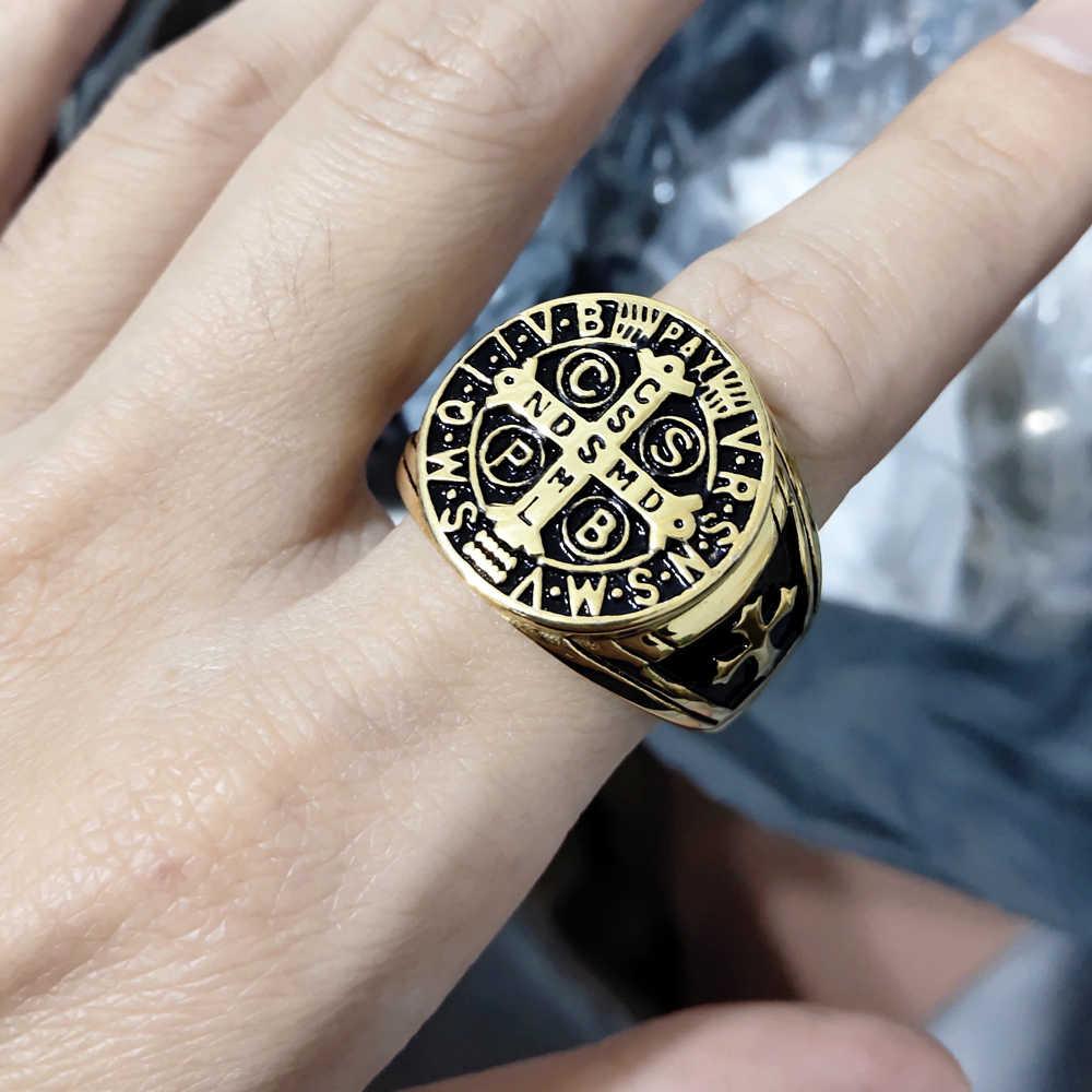 אביר טמפלרים צלב טיטניום פלדת גברים טבעת חותם זהב כסף בציר תכשיטי פאנק רוק זכר טבעות Biker להקת היפ הופ עבור גברים
