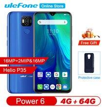 """Ulefone power 6 스마트 폰 안드로이드 9.0 helio p35 octa core 6350mah 6.3 """"4 gb 64 gb 16mp 페이스 id nfc 4g lte 글로벌 휴대 전화"""