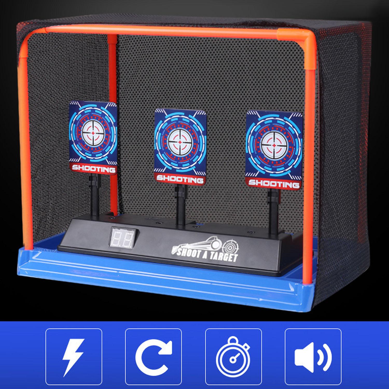 أطفال الأطفال إعادة تعيين تلقائي الإلكترونية اطلاق النار التهديف الهدف لعبة مع نبال سلة التخزين ل Nerf لينة الرصاص ألعاب الرماية