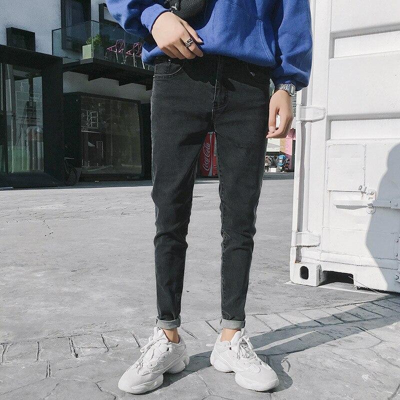 Spring Jeans Men's Slim Fit Korean-style Teenager Trend Versatile Casual Skinny Men Pants (Blue Lower Rack)