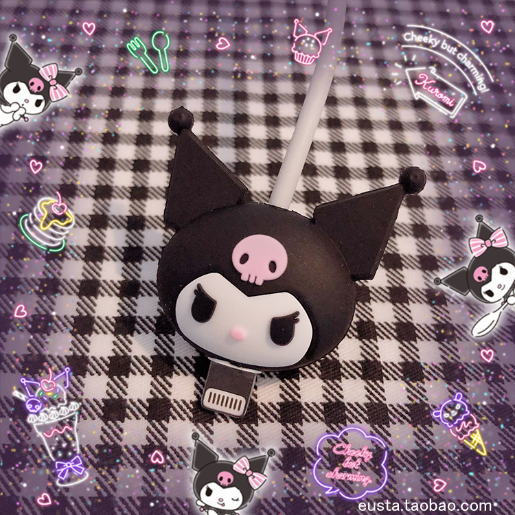 1pc Cartoon Kuromi Head Mobile Phone Cable Protector