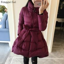 European New Fashion Large Size Women's Winter Coat Standing Collar Cloak A Word Down Jacket Female Long Winter Warm Coat
