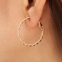 Doreenperles mode boucles d'oreilles pour femmes à base d'alliage et d'acier inoxydable boucles d'oreilles poteau d'oreille or cercle anneau cadeau 3cm Dia, 1 paire