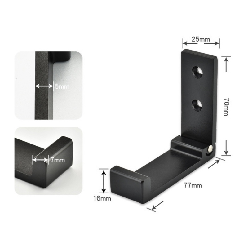 1-Househould Clothes Hook Aluminum Alloy Coat Rack Single Hook Foldable Wall Mounted On The Wall & Door
