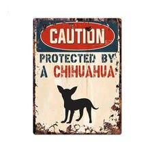 Забавные осторожно защищены Чихуахуа Предупреждение прекрасный