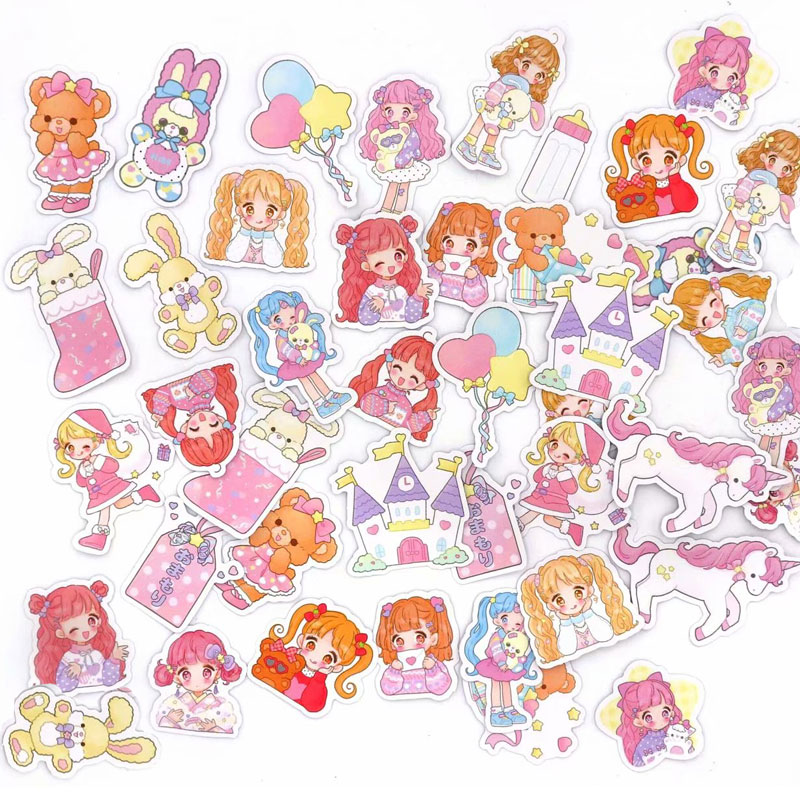 44 Pcs/Set Kawaii Cat Unicorn Stickers For Diary Planner Decoration Scrapbooking Label Journal Kids Stationery Sticker 2019