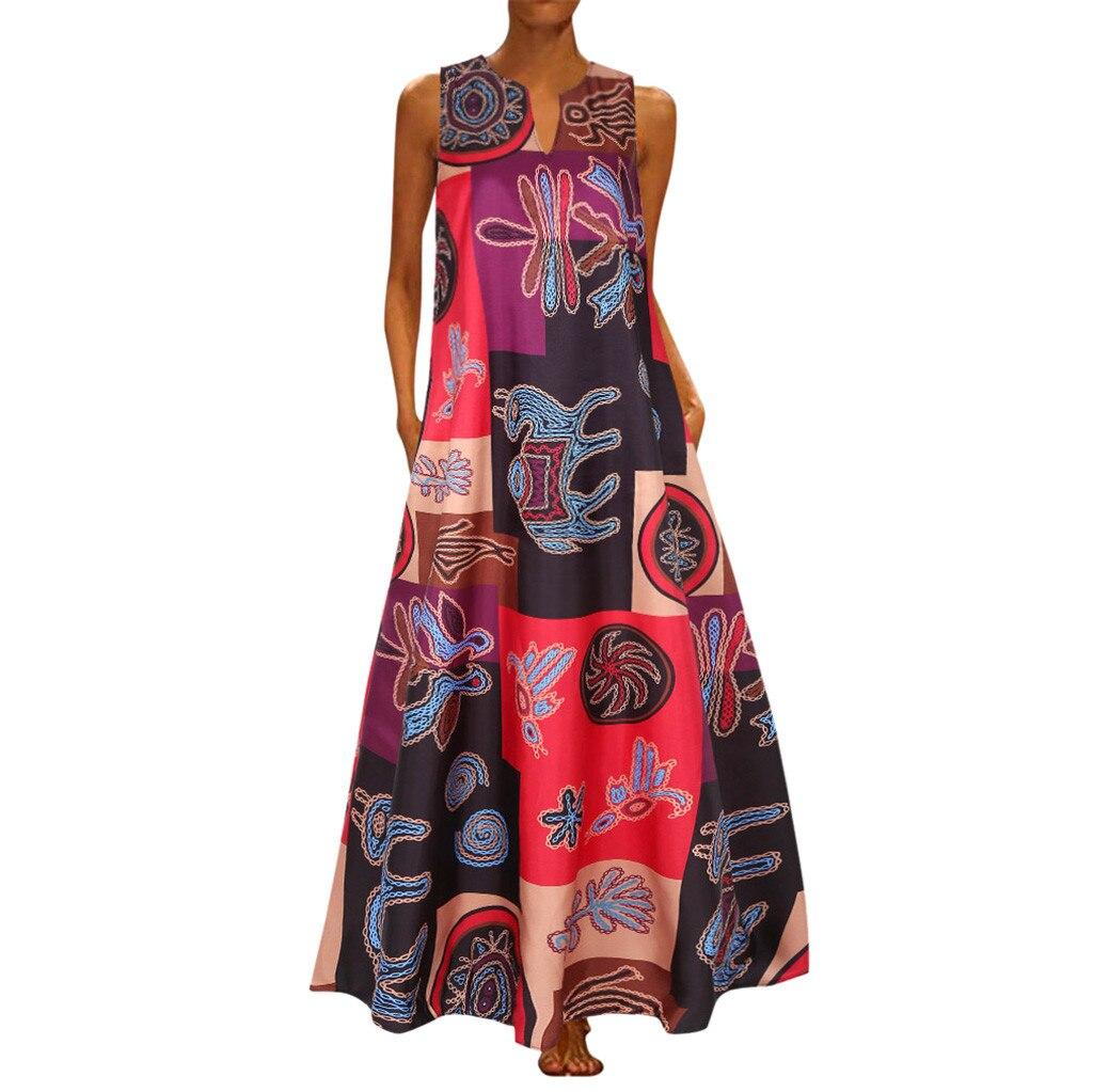XL Vintage Sleeveless Long Dress Bohemian Casual Loose Plus Size Retro Maxi Dresses Women Summer