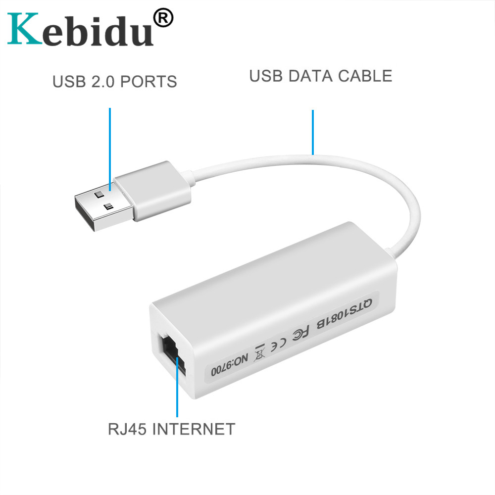 Kebidu Network-Card Tablet Lan-Adapter Laptop Windows Xp Usb-2.0 Android RJ45 Mac RD9700 title=